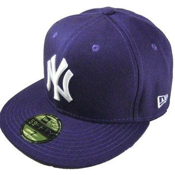 LMFON New York Yankees New Era MLB Authentic Collection 59FIFTY Caps Blue-White