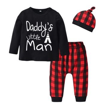 3Pcs Newborn Baby Boys Clothes Set Letter Daddy's Little Man T-shirt Tops Casual Red Plaid Pants and Hat Infant Toddler Clothing