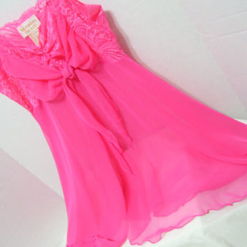 Watermelon Pink Victoria Secret Night Gown Babydoll Nightgown Bridal Honeymoon Resort Cruise Wear