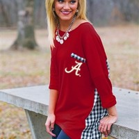 Alabama Gingham Piko Style Top | Alabama Apparel | BAMA Ladies Apparel