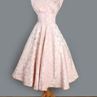 1950's Soft Pink Damask Tea Length Beaded Dress TEA LENGTH VINTAGE WEDDING PARTY DRESS :
