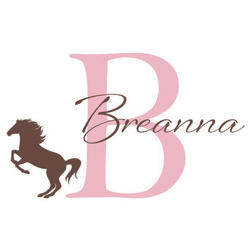 Personalized Girl Name Wall Decal - Initial & Name with Horse Vinyl Wall Decal for Girl Baby Nursery Teen Bedroom Wall Art 22H x 36W CN011