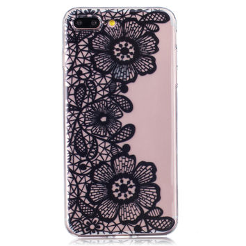 Black Lace Floral iPhone 6 6s Plus & iPhone 7 7Plus & iPhone se 5s + Gift Box-82