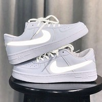 NIKE Air Force 1 New fashion reflective hook sports leisure low top couple shoes White