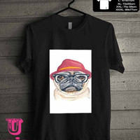 Cute Turquoise Pug Animal Illstration T-Shirt for man shirt, woman shirt **