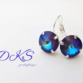 Ultra Purple AB, Swarovski 12mm Earrings, Lever Backs, Silver, Purple Drops, Rainbow, Round, DKSJewelrydesigns, FREE SHIPPING