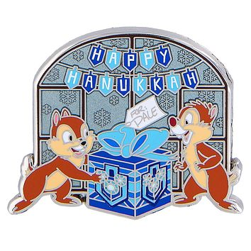 Disney Parks Chip & Dale Happy Hanukkah Pin New with Card