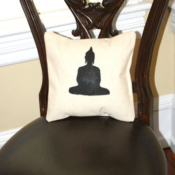 Buddha Pillow Cover, Hand Painted in Black, Envelope Closure, 12 x 12, Cream, Home Decor, #Buddha #Love #loveit