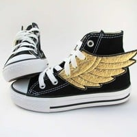 Superhero Shoes Gold Wings by smallfly on Etsy
