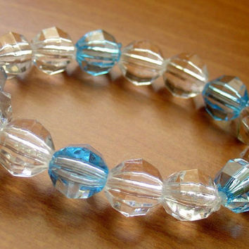 SALE-Blue and White Crystal Bracelet