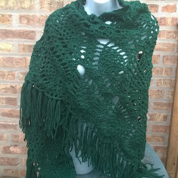 Crochet Shawl - Bride Shawl - Bridesmaid Shawl- The Shawl in Green - Prom Shawl - Boho Fashion