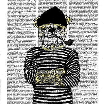 Sailor Bulldog with Tattoo Dictionary Art Print on Upcycle Vintage Page Book Print Art Print Dictionary Print Collage Print