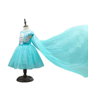Cool 2016 New Anna Elsa Dress Kids Princess Party Costume Cosplay Snow Queen Fantasy Baby Girls Dresses + Cape Vestido infantilAT_93_12
