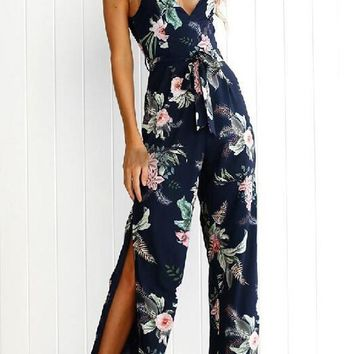 Navy Blue Floral Cut Out Drawstring Waist Long Jumpsuit
