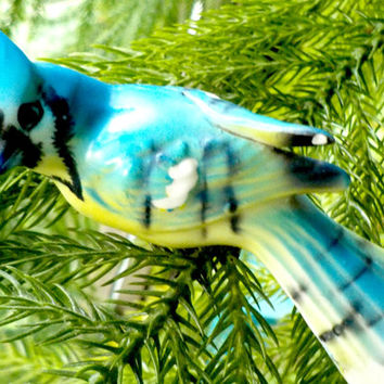 Blue Jay Figurine, Clip on Underside, Clip on Porcelain Blue Jay, Blue Jay with Clip, Japan 1930s
