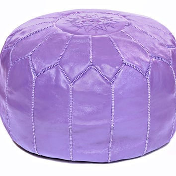 Moroccan Leather Ottoman Pouf, Violet