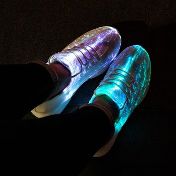 NEW UNISEX Boys Girls USB Charge Fiber Optic LED Light Up Tennis Shoes