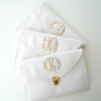Formal Clutch Purse Classic White with Detachable Chain Monogram Gifts Graduation Gift Under 30 Dollars
