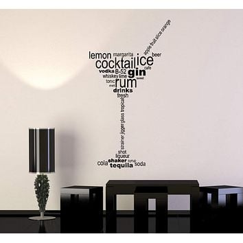 Vinyl Wall Decal Cocktail Glass Words Party Alcohol Bar Stickers Unique Gift (ig4831)