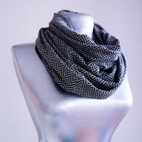 Handmade Herringbone Infinity Scarf - Jersey - Gray Black - Winter Autumn Scarf - Men Unisex Scarf