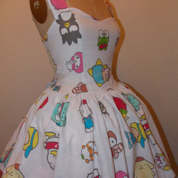 Custom Made to Order Sanrio and Friends Geekery Pin Up Character Sweet Heart Halter Ruffled Mini Dress