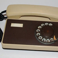 Vintage Rotary Phone, Cream Beige Brown Office Telephone Soviet Phone, Old Dial Desk Phone Collectible USSR era Made in TESLA Czechoslovakia