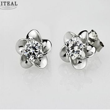 Silver Plated Floral Stud Earrings With Cubic Zirconia Flash Diamond #104