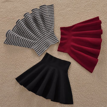 Female Solid Casual Knee-length Sun Pleated For Color Tutu Lady Skirt Winter Women Skirts None Natural A-line