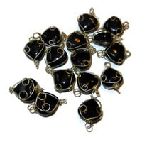 Black 10 mm Wire Wrapped Glass Beads