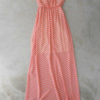 Coral Chevron Maxi [5150] - $43.00 : Vintage Inspired Clothing & Affordable Dresses, deloom | Modern. Vintage. Crafted.