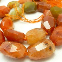Carnelian Nugget Hand Cut Large Gemstone Faceted Beads Set of 18