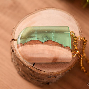 Magnified wooden pendant, resin necklace, wooden necklace, statement necklace, green resin necklace, reclaimed wood, layered necklace.