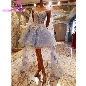 Vestido De Novia 2017 Short Light BLue/Ivory Beach Wed Dress Tulle Applique Beading Lace Beach Boho Wedding Dresses Bridal Gowns