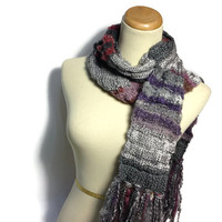 Shabby Chic Scarf, Hand Knit Scarf, Knit Scarf, Gray Scarf, Fiber Art, Winter Scarf, Womens Scarf, Fashion, Burgundy, Purple