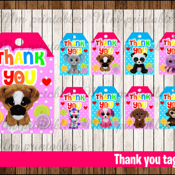 80% OFF SALE Beanie Boo's Thank you Tags instant download, Printable Beanie Boo Thank you tags , Beanie Boo's Party Gift Favor Label Tag