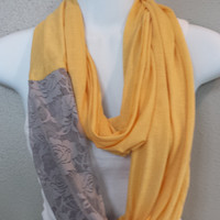 Soft Yellow and Grey Lace Infinity Scarf Color Blocked Scarf Fashion Womens Scarf Spring Scarves Circle Scarf Eternity Loop Lace Scarf
