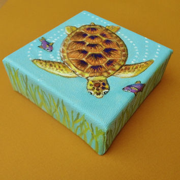 Seaturtle Painting Original Coastal Handmade Mini Canvas Signed