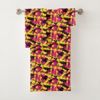 Modern Abstract Brushstrokes Pattern Bath Towel Set