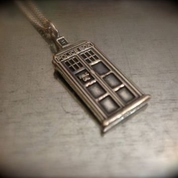 UK Police Phone Booth Solid Sterling Silver Interpreted Charmed Necklace