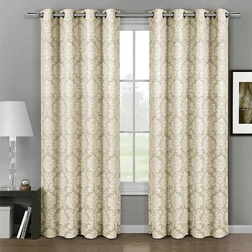 Aqua Aryanna Jacquard Grommet Top Curtain Panel Pair (set of 2)