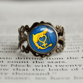 Sailor Moon Sailor Mercury Harp symbol antique style BRONZE Ring