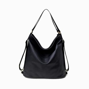 Multifunctional Women's Leather Shoulder Bag Woman Handbag Laptop Messenger Bag Casual Totes Shopping Bag Black Gray Sac a main