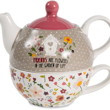 Friends are flowers in the garden of life Teapot & Cup Set