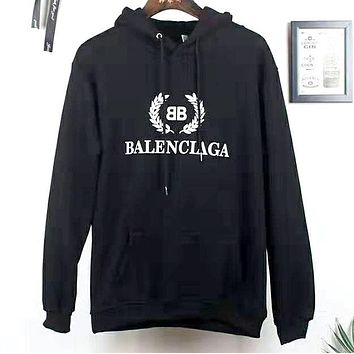 Balenciaga 2019 new letter wheat ear print loose hooded hoodie Black