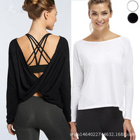 Women Shirts Quick Dry Workout Blouses Sport Jerseys Open Back Yoga Top Shirts Long Sleeve in Black Activewear For Women