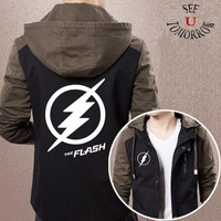 2017 New Superhero The Flash Jackets Men's  justice league Coat Zipper Casual Hooded Hoodies Spliced Clothing Movies TV Tops