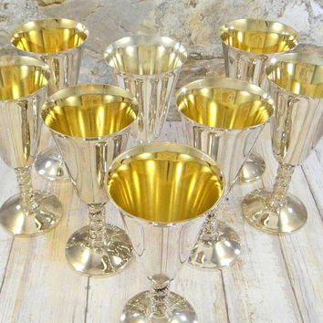 Vintage Silver Plate Wine Goblets with Gold Wash Interior from Spain, Set of Eight