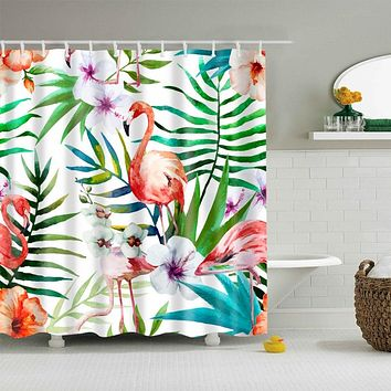 Flamingo Fronds Fabric Shower Curtain