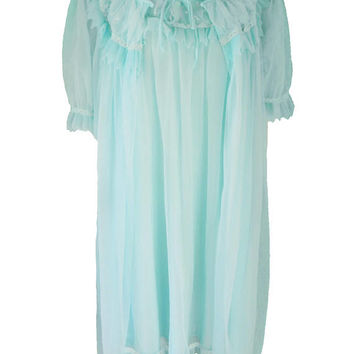 Vintage Dorsay Montex Sheer Mint Green Chiffon Peignoir Set - 1960's Night Gown & Robe, Size S/M Satin Lace Chiffon Lingerie Negligee Set