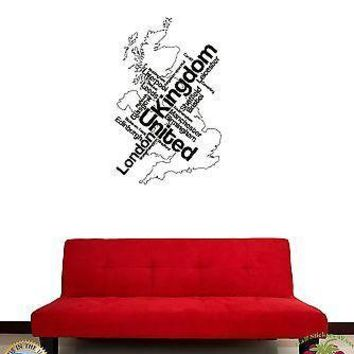 Wall Sticker Map London Unied Kingdom England English Cities Unique Gift z1386